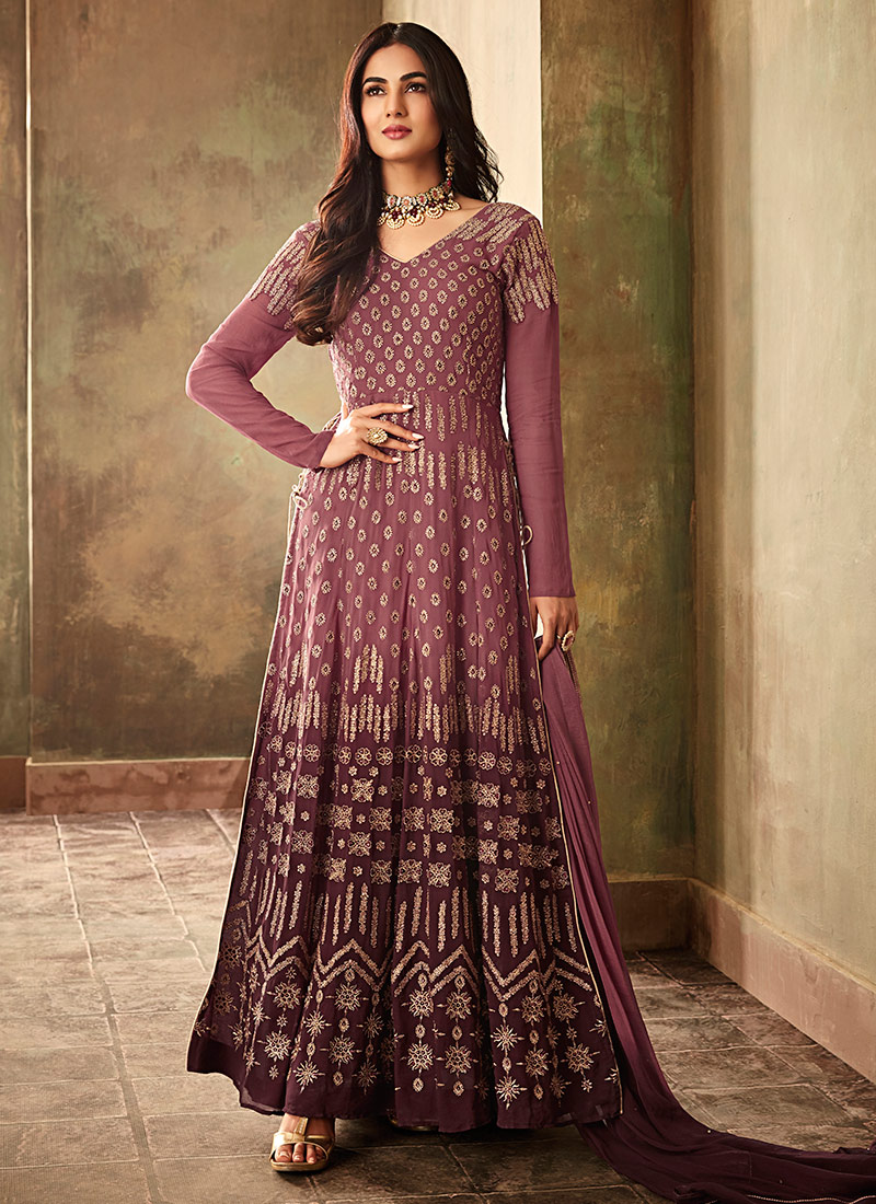 dce386d5d Buy Sonal Chauhan Purple Embroidered Anarkali Suit