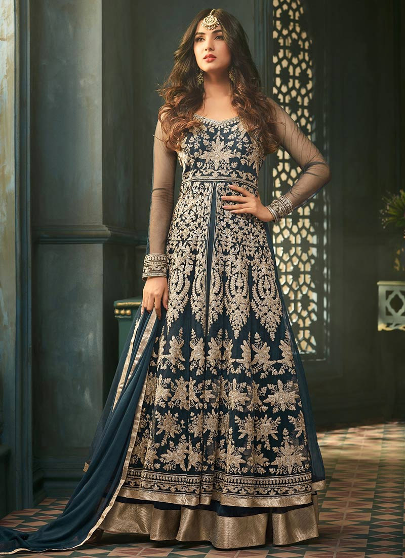 a7ed17b657 Buy Sonal Chauhan Teal Blue Net Anarkali Suit, Zari , Embroidered ...