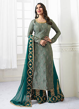 Sophie Choudhry Light Green Satin Palazzo Suit