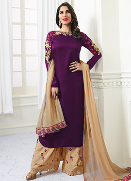 Sophie Choudhry Purple Embroidered Palazzo Suit