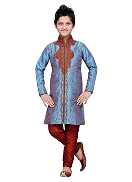 Steel Blue Embroidered Art Silk Teens Kurta Pyjama