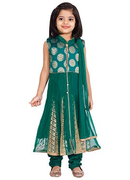 Teal Blue Net Kids Anarkali Suit