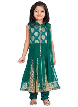 Teal Blue Net Kids Anarkali Suit