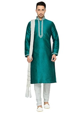 Teal Green Art Dupion Silk Kurta Pyjama