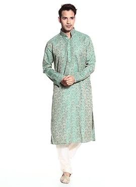 Teal Green Art Silk Kurta Pyjama