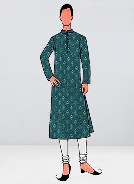 Teal Green Foil Printed Kurta Pyjama