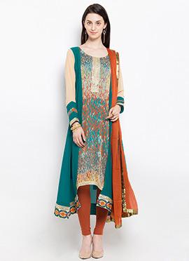 Teal Green Georgette Asymmetrical Anarkali Suit
