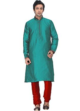 Teal Green Jacquard Kurta Pyjama