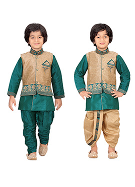 Teal Green N Beige Kids Dhoti Kurta N Bandi Set Co