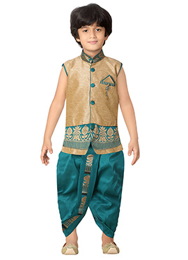 Teal Green N Golden Beige Kids Dhoti Kurta