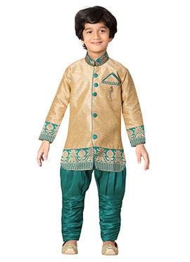 Teal Green N Golden Beige Kids Sherwani