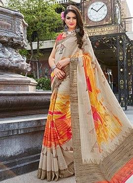 Tricolor Bhagalpuri Art Silk Saree