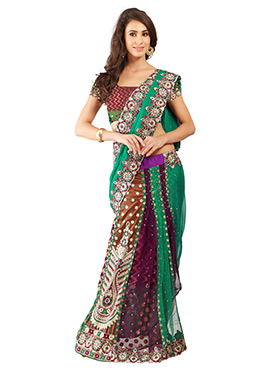 Tricolored Lehenga Style Saree
