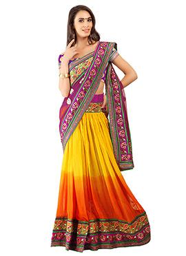 Tricolored Pure Georgette Lehenga Style Saree