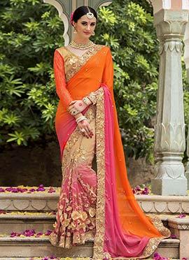 Tricolored Pure Silk Half N Half Saree