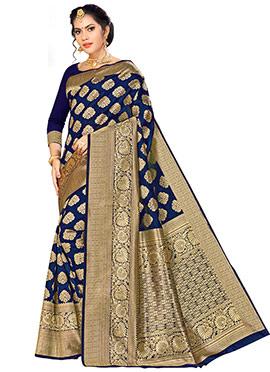 Navy Blue Benarasi Art Silk Saree