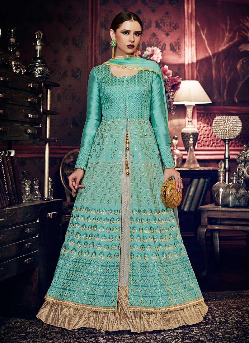 Buy Turquoise Art Silk Abaya Style Anarkali Suit, Zari , Embroidered ...
