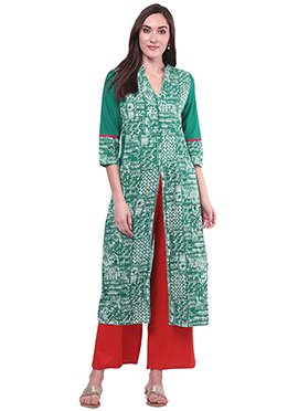 Turquoise Blended cotton Palazzo Set