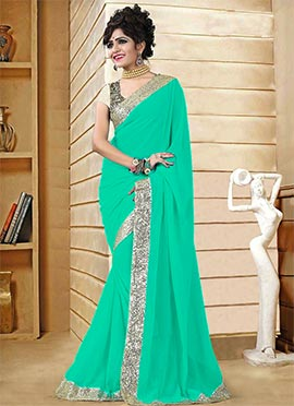 Turquoise Green Georgette Saree