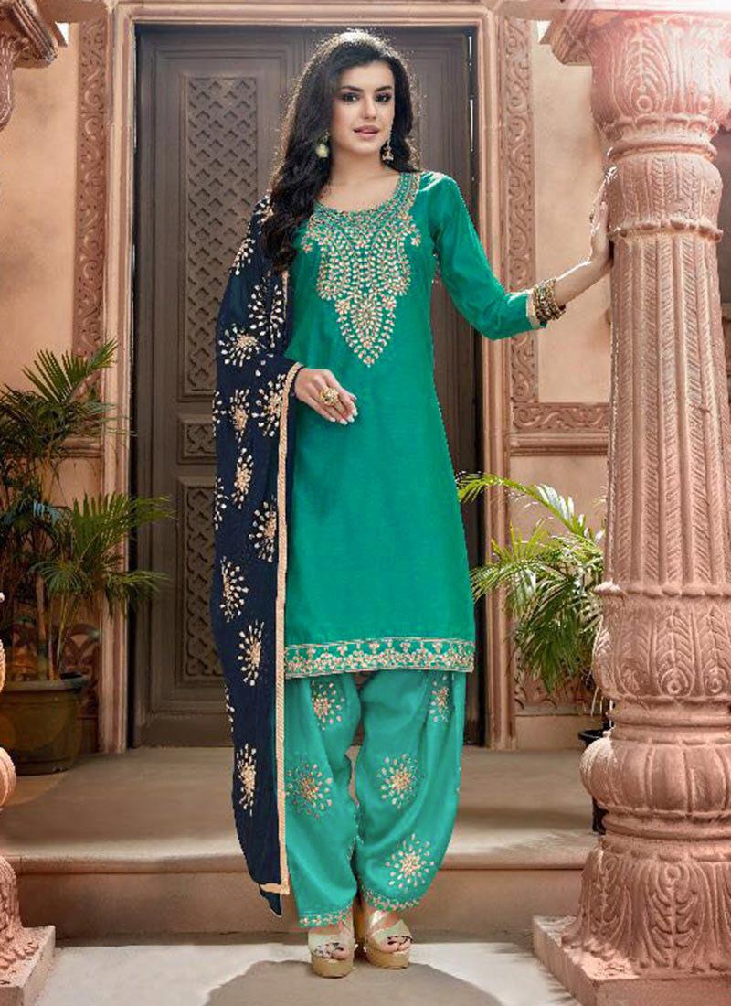 5789b26d3c Buy Turquoise Chanderi Cotton Salwar Suit, Embroidered , Chanderi ...