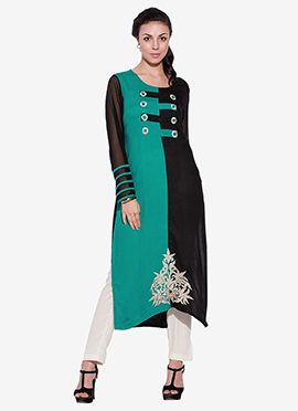 Turquoise Green N Black Viscose Long Kurti