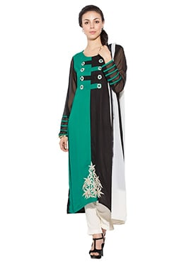 Turquoise Green N Black Viscose Straight Pant Suit
