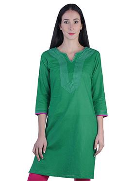 Teal green Rayon Kurti