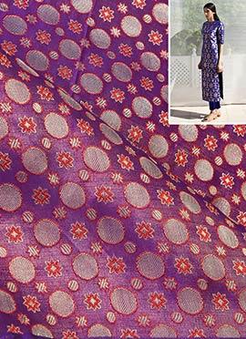 Violet N Red Dual Tone Brocade Dress Material