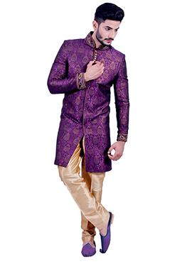 Violet Silk Brocade Indowestern Sherwani