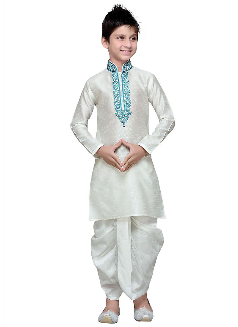 Buy White Art Silk Teens Dhoti Kurta Embroidered Teens