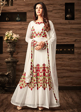 White Georgette Abaya Style Anarkali Suit