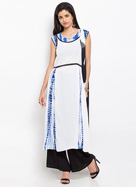 White N Blue Cotton Palazzo Suit