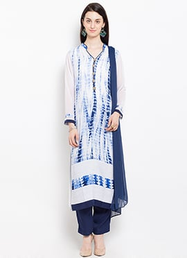 White N Blue Cotton Straight Pant Suit