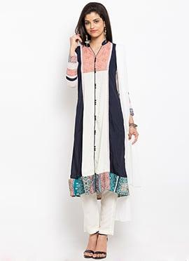White N Navy Blue Anarkali Suit