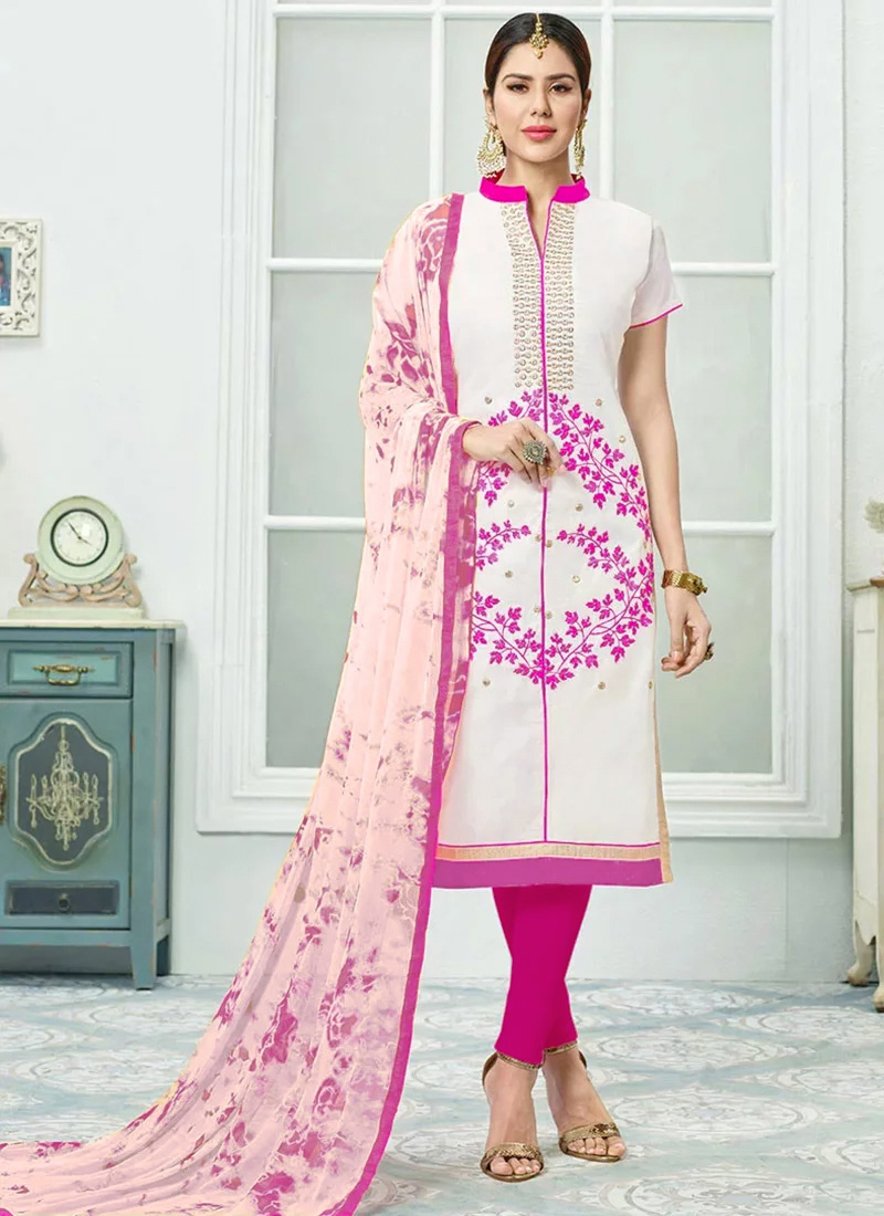 4979627aec Buy White N Pink Chanderi Cotton Churidar Suit, Printed ...