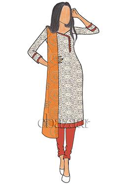 White Net N Persimmon Orange Taffeta Churidar Suit