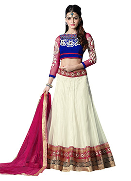 Off - White Net Umbrella Lehenga Choli