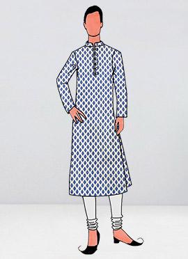 White Printed Kurta Pyjama