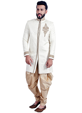 White Silk Brocade Indowestern Sherwani