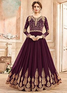 Wine Georgette Abaya Style Anarkali Suit