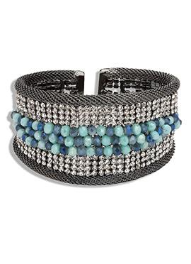 Yazuri Silver Color Embellished Bracelet
