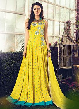 Yellow Cotton Anarkali Suit