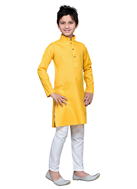 Yellow Cotton Boys Kurta Pyjama