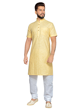 Yellow Cotton Half Sleeve Kurta Pyjama