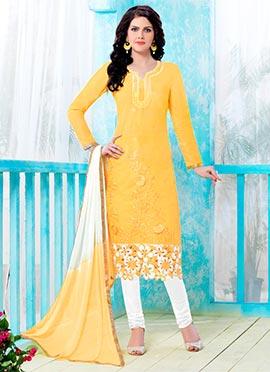 Yellow Cotton Straight Suit