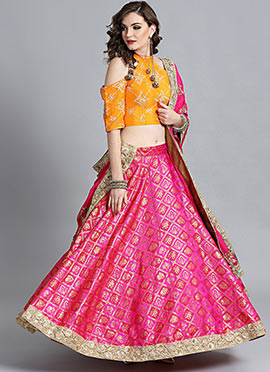 Yellow Embroidered Choli With Pink Brocade Lehenga
