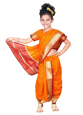 Orange Kids Readymade Saree