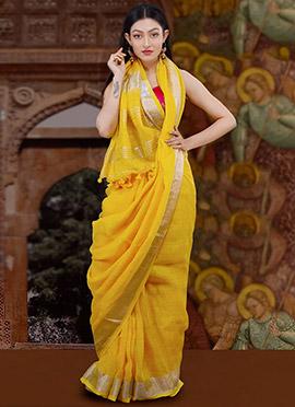 Yellow Matka Silk Saree