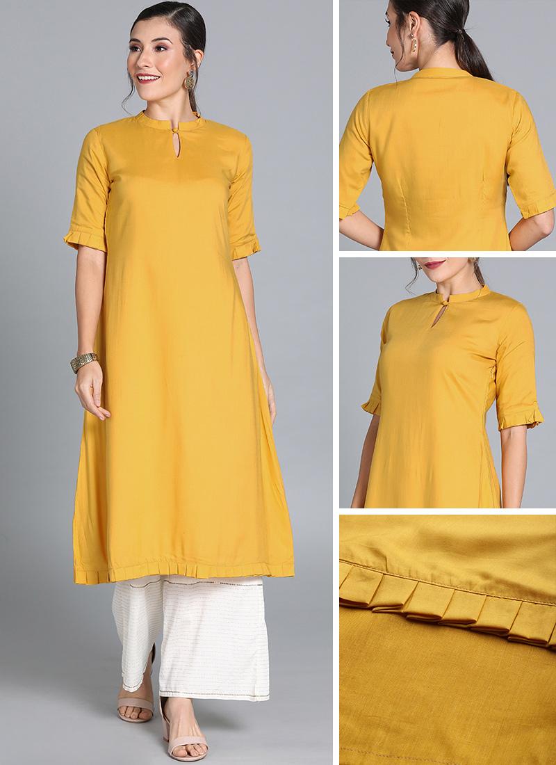 Shop Yellow Modal Tencel Collar Neck Kurti Ready To Wear Dresses For Women Krbs01911439rtw