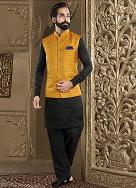 Mustard N Black Art Silk Bandi Set